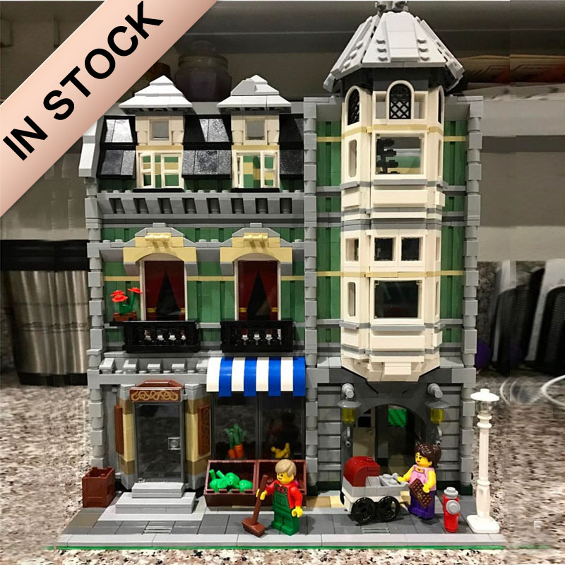 In Stock 10185 Creator Green Grocer 15008 2462Pcs Street View Model Building Blocks Bricks 84008 15034 15037 15042 15012 Toys